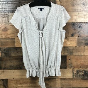 GAP SHEER TOP WITH TIE NECKLINE FITTED BOTTOM BAND